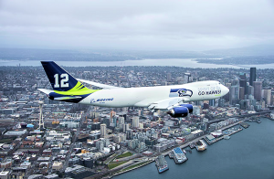 Boeing 747-8 Freighter Painted in Seattle Seahawks Livery