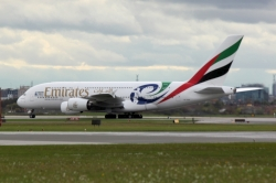 Emirates Airbus A380-861 A6-EDN sporting 2011 Rugby World Cup livery