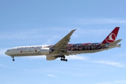 Turkish Airlines Boeing 777-3F2ER TC-JJI in Barcelona FC livery